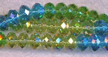 Crystal Beads, 8mm Rondelle Aquamarine, Peridot, Emerald