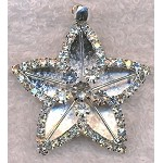 Silver Plated Bailed Dimensional Crystal Star Pendant, Pentagram Pendant