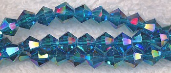 Crystal Beads, 6mm Bicone DARK AQUAMARINE AB