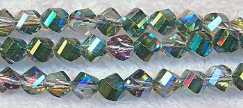 6mm Mystic Topaz Teal Half-Coat Helix Crystal Beads
