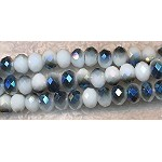 Crystal Beads, 6mm Rondelle WHITE with STEEL BLUE COAT