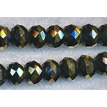 Crystal Beads, 12mm Rondelle BLACK with GOLD Rim