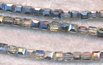 Crystal Beads, 4mm Cube Metallic Half Silver Coat