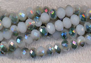 Crystal Beads, 8mm Rondelle WHITE Metallic TEAL