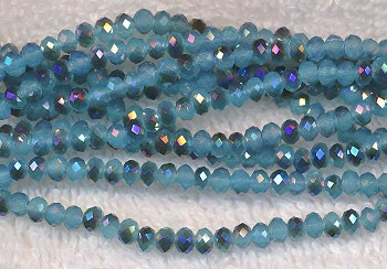4mm Turquoise Metallic Blue Crystal Rondelle Beads