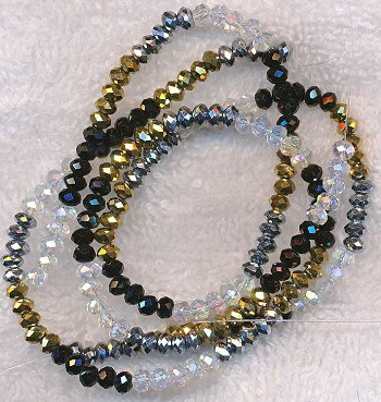 4mm Rondelle Crystal Beads Crystal, Metallic Silver, Metallic Gold, Black Designer Mixed