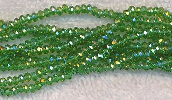 Light EMERALD Green AB 3mm Rondelle Crystal Beads