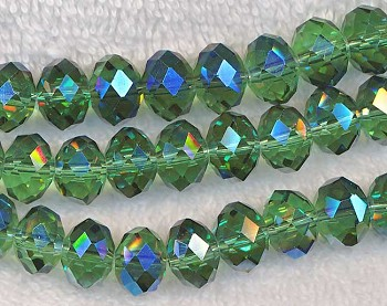 Crystal Beads, 12mm Rondelle OLIVINE with BLUE AB