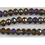 Crystal Beads, 10mm Rondelle BROWN TOPAZ AB