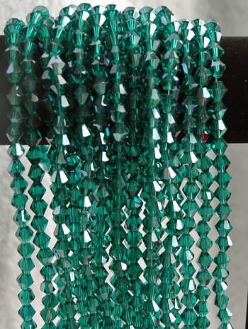 8mm Teal Green Bicone Crystal Beads