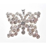 Silver Plated Crystal Butterfly Pendant, 32x38mm