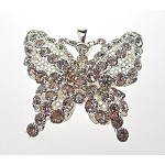 Silver Plated Crystal Butterfly Pendant, 45x47mm