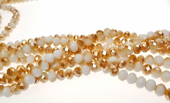 Golden Champagne Crystal Rondelle Beads, Special Color, Long Strand