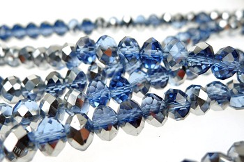 Crystal Beads, 8mm Rondelle SAPPHIRE with SILVER