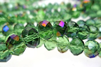 Crystal Beads, 8mm Rondelle OLIVINE with VIOLET AB