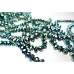 6mm Rondelle Crystal Beads Metallic GREEN TEAL