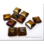 Crystal Beads, Faceted Tablet BROWN TIGER EYE SWIRL AB