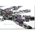 ZSOLDOUT - Crystal Beads, 4mm Cube SILVER PURPLE SHIMMER