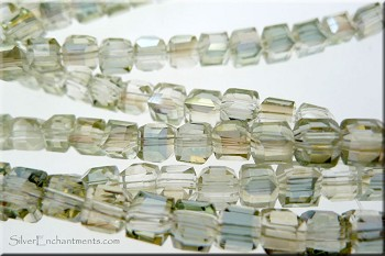 Crystal Beads, 4mm Cube GOLDEN GLOW