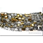 Crystal Beads, 6mm Cube GOLD Half-Coat