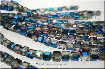 Crystal Cube Beads, Cobalt Purple Shimmer, 4mm