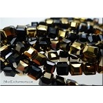ZSOLDOUT - Crystal Beads, 6mm Cube Black and Gold