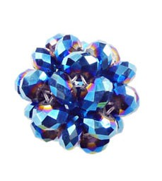 Crystal Beaded Beads, Metallic BLUE Crystal Ball Beads