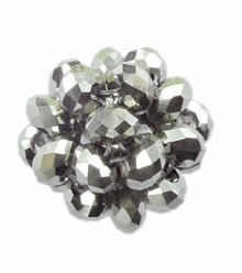 Crystal Beaded Beads, 28mm SILVER Crystal Ball Beads