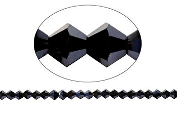 8mm Jet Black Crystal Bicone Beads