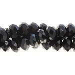 4mm Rondelle BLACK Crystal Beads