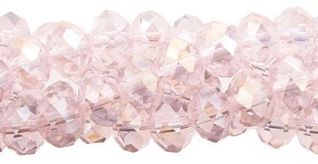 4mm Rondelle Crystal Beads, LIGHT ROSE PINK AB