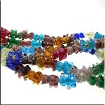 Glass Beads, Bear 3D Multicolored Lampworked