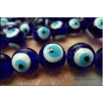 SOLDOUT - Evil Eye Beads 15mm Cobalt Blue Turquoise Lampworked Glass Bead