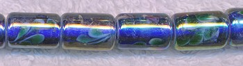 Blue Core w Floral Motif Tube AB Glass Beads