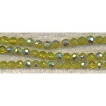 Glass Beads, Faceted Round PERIDOT with Half Silver 6mm
