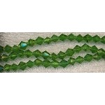 Glass Beads, Bicone GREEN 6mm