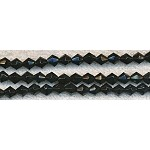 Glass Beads, Bicone BLACK 4mm