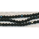 Glass Beads, Faceted Round BLACK 6mm