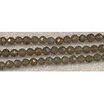 Glass Beads, Faceted Round SMOKY QUARTZ 6mm