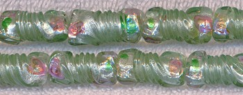 Light Green Base w Silver Foil and Rosette Detail Glass Twist Beads
