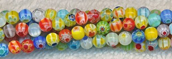 Glass Beads, Round Millefiori 4mm