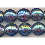 Glass Beads, Coin BLUE Fancy 18mm