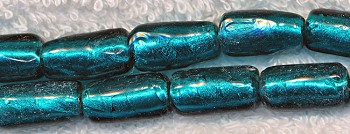 Teal Blue Silver Foil Cylindrical Glass Beads