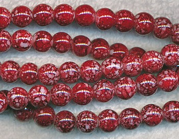 8mm Round Mottled Red Glass Beads