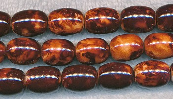 Brown Fancy Glass Beads, Olivary Barrel 16x12mm