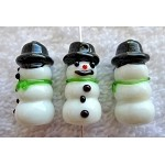 Snowman Beads, Lampworked Glass Bead (1)
