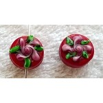Floral Lampworked Glass Beads, 14mm Designer Coin Beads (1)