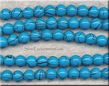 Glass Beads, Turquoise with Black Swirl Round 10mm