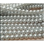 10mm Round Glass Pearls GREY SILVER