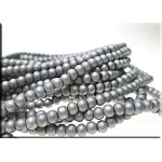 Glass Pearls, 4mm MATTE METALLIC SILVER
